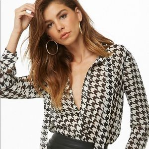 houndstooth print bow front chiffon blouse